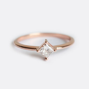 Ring For Women 18k solid gold 0.3CT Princess cut Diamond  Engagement wedding fashion Solitaire Diamond Ring