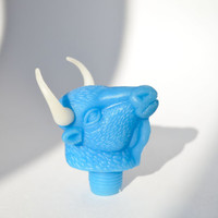 Vintage Bull's Head Bottle Pourer / Cute Blue Animal Head Barware Bottle Stopper / USSR Collectible / Russian Kitsch