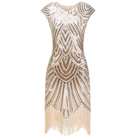 Vintage 1920s Great Gatsby Sequin Fringe Party Dress