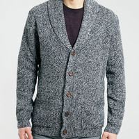 NAVY TWIST SHAWL CARDIGAN - Topman