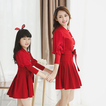New arrive mother daughter dresses family look girl and mother family clothing mom and daughter dresses matching family outfits