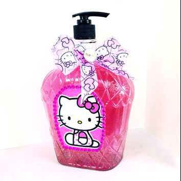 Hello Kitty Glass Crown Royal Bottle Soap Dispenser