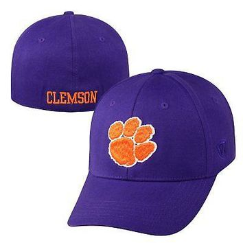 Licensed Clemson Tigers Official NCAA One Fit Large Premium Cuff Hat Cap Top of the World KO_19_1