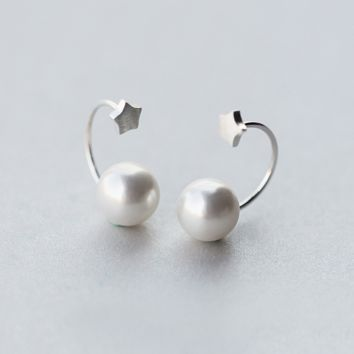 Brushed tiny star with pearl earrings + Gift box ALQ1023E