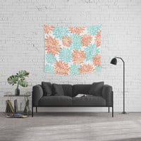 aqua and coral flowers Hand & Bath Towel by Sylvia Cook Photography