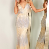 Glitter Embellished Gown Silver/Nude