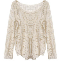 Off White Long Sleeve Crochet Lace Top