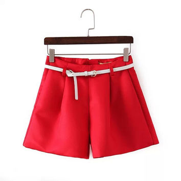 Women's Fashion Slim Casual High Rise Pants Shorts [4917836036]
