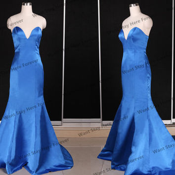 Sexy Silver Royal Blue Strapless Backless Deep V Neck Mermaid Long Prom Dress with Train,long evening dress,evening gown,gown ball,blue prom