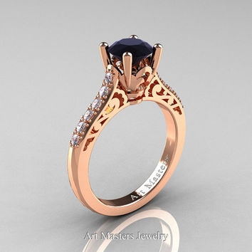 Classic French 14K Rose Gold 1.0 Carat Black Diamond Pave White Diamond Solitaire Wedding Ring R701-14KRGDBD
