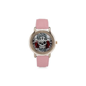Sugar Skull #6-#10 Rose Gold Leather Strap Women Watches (5 styles)