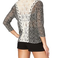 Crochet Back Tribal Diamond Sweater