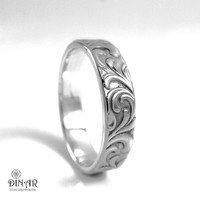 6mm sterling silver wedding band, 925 silver Leaf engravings band,scrolls engraved wedding ring band, men's women's ring nature inspired