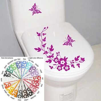 18 colors Butterfly Flower bathroom wall stickers home deocr home decoration wall decal decorative sticker toilet wall poster