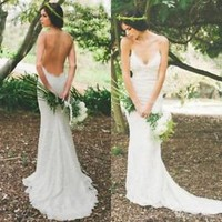 Backless Spring/Summer Ivory Lace Boho Bridal Wedding Dress Custom Size 0 2 4 6