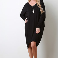 Cut Out Elbow V-Neck Dress