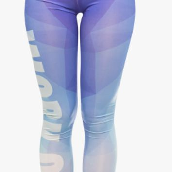 Zohra Unique Design Women Legging Triangle Blue Printing Fashion Leggings Sexy Fitness High Waist Woman Pants