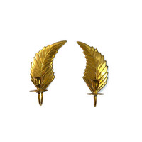 Brass Leaf Wall Sconces  Brass Leaf Candle Holders Leaf Wall Sconce Brass Fern Leaf Candleholders Brass