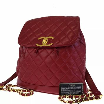 CHANEL VINTAGE RED QUILTED CHAIN DRAWSTRING BACKPACK BAG ** HARRODS **