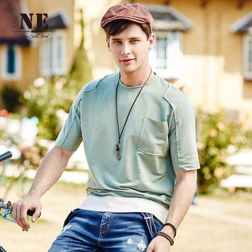 Summer Stylish Patchwork Strong Character With Pocket Decoration Slim England Style T-shirts [7951184643]