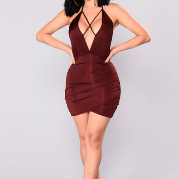 Jeanette Mini Dress - Burgundy