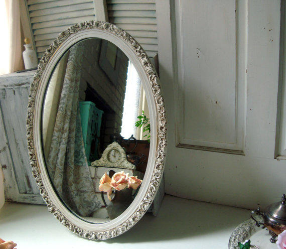 vintage bathroom mirror antique white vintage oval ornate mirror from 14961