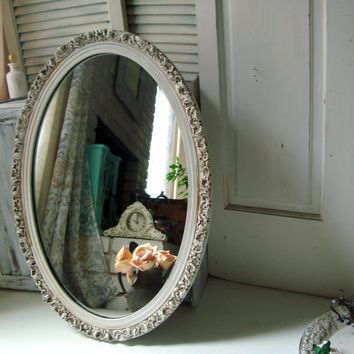 Antique White Vintage Oval Ornate Mirror, Large Oval Shabby Chic Mirror, Cream Mirror, Bathroom Mirror, Cottage Chic Distressed Mirror