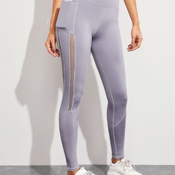 Mesh Panel Contrast Topstitching Leggings With Phone Pocket
