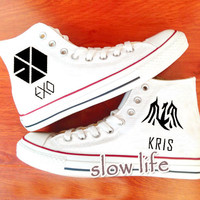 EXO KRIS painted shoes/canvas shoes/Hand Painted Shoes/Custom shoes/Brand Shoes/Sneakers for women/men/Special Birthday Gifts/Cosplay shoes