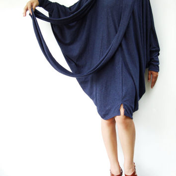 NO.57 Dark Blue Cotton-Blend Oversize Sweater With Infinity Scarf Cocoon Tunic Dress