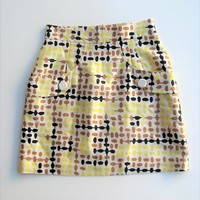 Tibi New York Abstract Print Wool & Silk A-line Tulip Pocket Skirt 6