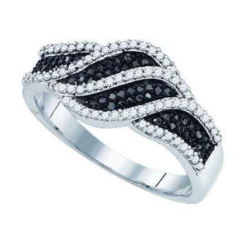 10K White-gold 0.40CT BLACK DIAMOND MICRO-PAVE RING