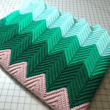 1970s Vintage Hand Crocheted Afghan in Colorful Chevron Stripe Pattern, 66 x 48 Inches, Vintage Textiles, Car Blanket, Sofa Throw, Cuddle