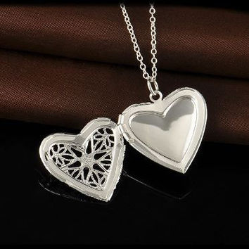 Delicate, Vintage Silver Plated Heart Locket Pendant
