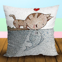 Cat and Fish Kissing - Pillow Case, Square and Rectangle One Side/Two Side.