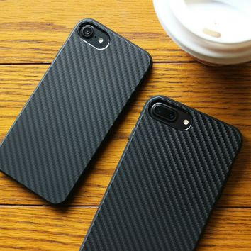 Explosion black carbon fiber pattern phone Case for iPhone 5s case for iphone 7p protective cover anti fall case capa for men
