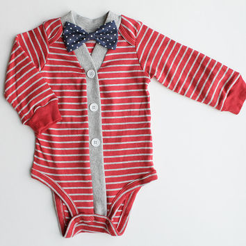 Baby Boy Cardigan, Baby Cardigan and Bow Tie Set, Red and Gray Striped Cardigan, Baby Bodysuit, Cardigan Bow Tie, Baby Sweater, Baby Outfit