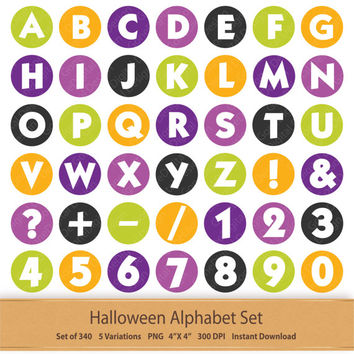 Halloween Alphabet Letters Clip Art Orange Purple Green Letter Art Digital Alphabet Printable Numbers Alphas Symbols Clipart Holidays Font