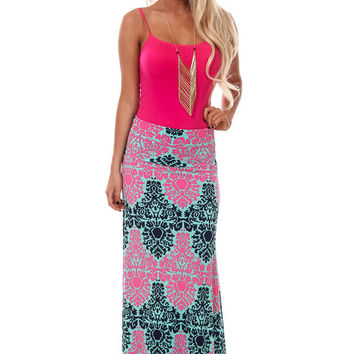 Fuchsia and Navy Damask Print Maxi Skirt