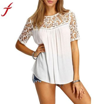 Lace Hollow Solid Short Sleeve Blouse Tank Fashion Women's Shirt