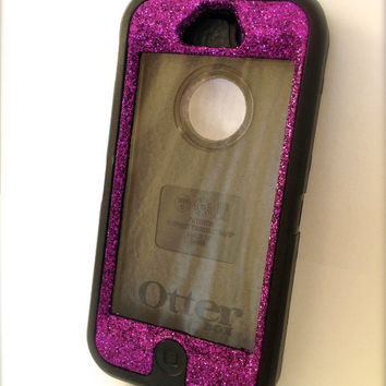 Custom Glitter (Tanzanite) Otterbox Defender Series Case for iPhone 5 Black/Purple