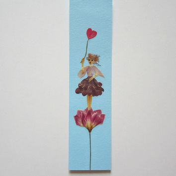 "Handmade unique bookmark ""My heart wants to breath"" - Decorated with dried pressed flowers and herbs - Original art collage."