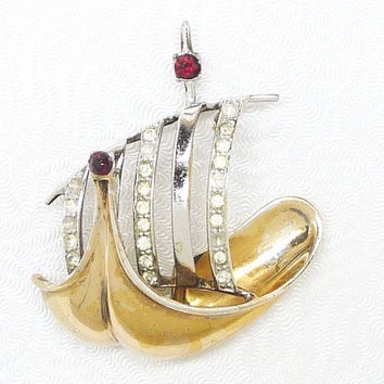 Vintage Sterling Ship - Viking Sailing Ship with Rhinestones Brooch - Signed Book Piece