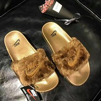 """Nike"" Women Lover Fur Slipper Shoes 4 colors H 8-17"