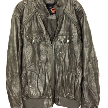 G by Guess Faux Leather Full Zipper 4 Pocket Bomber Jacket Men's Size Large L - Preowned