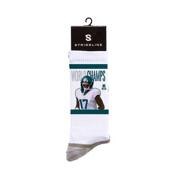 NFLPA Strideline Eagles Alshon Jeffrey World Champs White Crew Socks
