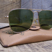 Ray Ban Sunglasses Men's Aviator Green Tint 1950's era with Case Gift for Him Bausch and Lomb