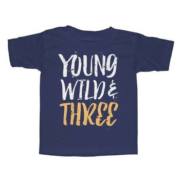 Navy 'Wild & Three' Tee - Toddler & Boys