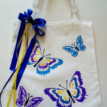Beautiful Butterflies -- hand painted bag/ tote bag/ canvas bag/ canvas tote bag