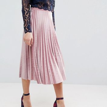 ASOS Pleated Midi Skirt in Velvet at asos.com